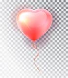Rosa Herzsatz des Ballons Symbol der Liebe Geschenk Tag des Valentinsgruß-s Realistischer Gegenstand 3d des Vektors Lokalisierter Stockbilder