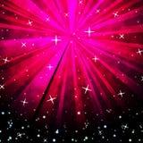Rosa Himmel-Hintergrund-Shows, die Sterne blenden und leuchtend stock abbildung