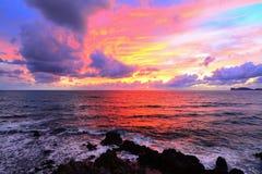 Rosa himmel med moln över den Alghero kusten Arkivbilder