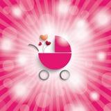 Rosa himmel Rays flickabarnvagnen Arkivfoton