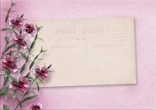 Rosa Hintergrund der Weinlese mit alter Postkarte und Gartennelken Lizenzfreies Stockfoto