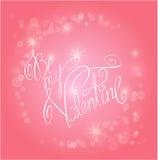 Rosa Hintergrund des Valentinstags mit Lichtern - Urlaubsliebekarte Stockbild