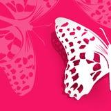 Rosa Hintergrund des Vektors mit einem Papierschmetterling Stockfoto