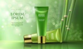 Rosa Hintergrund mit befeuchtenden erstklassigen Produkten der Kosmetik Tag und Nacht stock abbildung
