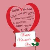 Rosa Hintergrund mit großem Herz- und Rosenvalentinsgruß Stockbild