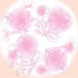 Rosa Hintergrund mit Pansies und Winde Lizenzfreies Stockfoto