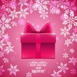 Rosa Hintergrund mit Schneeflocken und Geschenk, Stockfoto