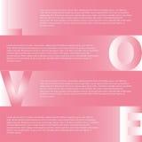 Rosa Hintergrund mit transparenten Herzen und Sternen, Illustration Aphic Design Infogr auf dem grauen Hintergrund Vektordatei EN Stockbilder