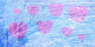 Rosa hjärta över bakgrunden som målas i olja, blått valentin för dagvykort s Royaltyfri Foto