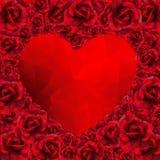 Rosa hjärta för romantiker för poly stil för valentindag lågt Fotografering för Bildbyråer