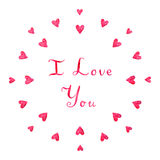 Rosa hjärta för vattenfärgen älskar jag dig det vektorbakgrund och kortet Arkivbilder
