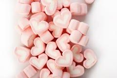 Rosa hjärta formade marshmallower Fotografering för Bildbyråer