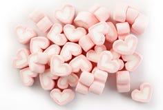 Rosa hjärta formade marshmallower Arkivfoton