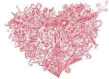 Rosa hjärta i zentanglestil bakgrund isolerad white Växt- modell för den vuxna linjen konst för spänning för färgläggningbok anti Fotografering för Bildbyråer