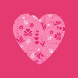Rosa hjärta med den abstrakta blom- prydnaden Kan användas för baner Arkivbilder