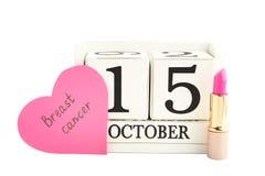 Rosa hjärta med kalenderkuber Arkivfoto