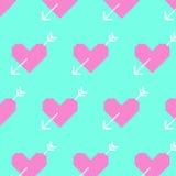 Rosa hjärta och vita pilar på blå bakgrund PIXEL-konst 8bit royaltyfri illustrationer