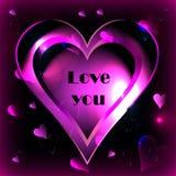 Rosa hjärta på en svart bakgrundsvektor Arkivfoton