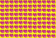 Rosa hjärta Shape på gul bakgrund Hjärtor Dot Design Användas för artiklar och att skriva ut, kan illustrationavsikt, bakgrund, stock illustrationer
