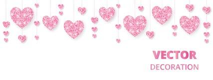 Rosa hjärtaram, gräns Vektorn blänker isolerat på vit För garnering av valentin- och moderdagkort som gifta sig stock illustrationer
