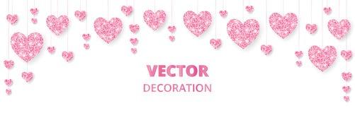 Rosa hjärtaram, gräns Vektorn blänker isolerat på vit För garnering av valentin- och moderdagkort som gifta sig vektor illustrationer