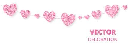 Rosa hjärtaram, sömlös gräns Vektorn blänker isolerat på vit För garnering av valentin- och moderdagkort stock illustrationer