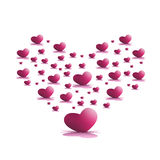 Rosa hjärtor Arkivbild