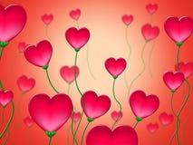 Rosa hjärtor föreställer valentindag och älskade Royaltyfri Fotografi