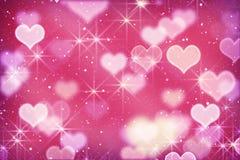 Rosa hjärtor och bokehlampor Royaltyfri Bild