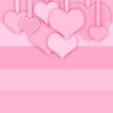 Rosa hjärtor på den ljusa bakgrunden Royaltyfria Bilder