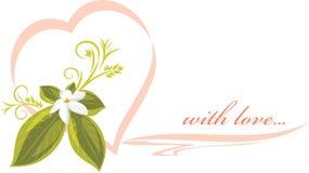 Rosa hjärta för inbjudan med blomman Royaltyfri Bild
