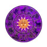 rosa hjul för horoskop Royaltyfria Bilder