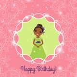 Rosa hälsningkort för lycklig födelsedag med prinsessan Royaltyfri Fotografi
