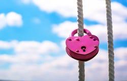 Rosa Hochzeitskieferklemme in Form von Herzen Lizenzfreies Stockbild