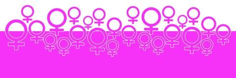 Rosa horisontalbakgrund med kvinnligt symbol stock illustrationer