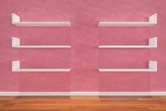 rosa hyllavägg Arkivfoton