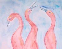 Rosa ibis tre på en blå bakgrund fotografering för bildbyråer