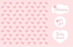 Rosa illustration för prinsessa Crown Background Vector Arkivbilder