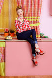 Rosa kök Fotografering för Bildbyråer