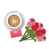 Rosa kaffe och meddelande för beröm för valentin för inbjudan för bröllop för förälskelsebokstav Royaltyfri Bild