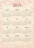 Rosa kalender 2015 för amerikansk vektor Arkivbilder