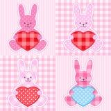 rosa kaniner för kort Royaltyfri Foto