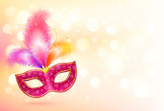Rosa karnevalmaskering med det färgrika fjäderbanret Royaltyfria Foton