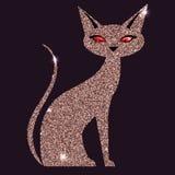 Rosa katt för guld med röda ögon Royaltyfri Foto