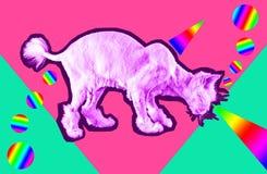 Rosa katt med str?lar fr?n ?gon Retro v?gvaporwavest?ende av en rolig katt Samtida konstcollage arkivbilder
