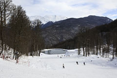 Rosa Khutor Alpejski kurort Zdjęcia Royalty Free
