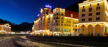 Rosa Khutor alpine resort in the evening Stock Image