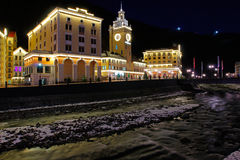 Rosa Khutor alpine resort in the evening Royalty Free Stock Image
