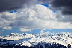 Rosa Khutor Alpine Resort in Sochi. Glaciers of the greater Caucasus mountain range at the Rosa Peak Stock Images