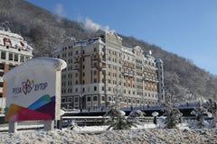 Rosa Khutor. Hotels in Rosa Khutor near Krasnaya Polyana Stock Image